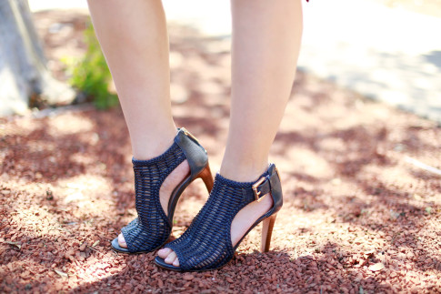 An Dyer wearing Louise et Cie Sheree Woven Leather Sandals