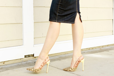 An Dyer wearing ShoeDazzle Farrah Snake Pumps