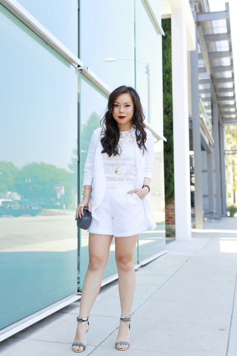 An Dyer wearing Chanel Chevron Flap Bag and Chanel Brooch with Eve by Eve's WhiteTweed Outfit