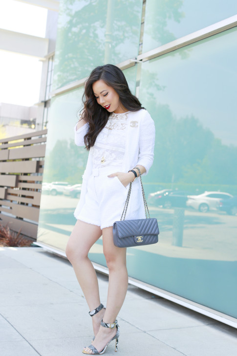 An Dyer wearing Eve by Eve's White Tweed Short Set