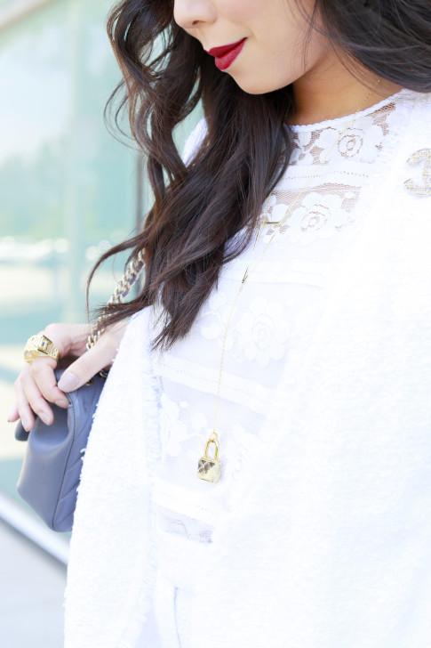 An Dyer wearing Isaiah Garza FW15 Y Padlock Python Skin Necklace