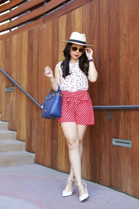 An Dyer wearing Panama Hat St Scott London and Lauren Conrad Disney Kohls