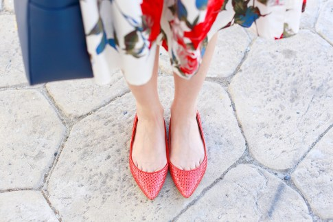 An Dyer wearing Sambag Sydne Tamsin Red Pointy Flats