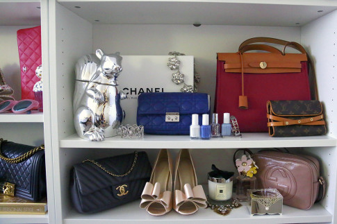 SIlver Squirrel Decor Dior Hermes Herbag display bag storage