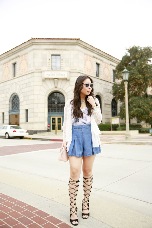 An Dyer in Shoedazzle Gladiator Wedge Sandals