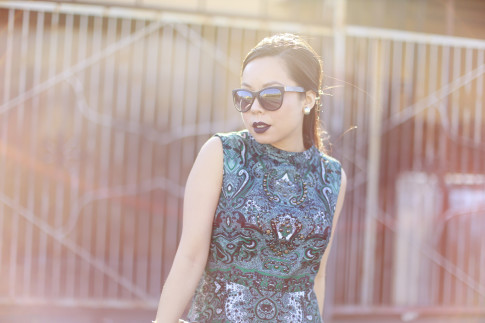 An Dyer wearing Anastasia Potion Black Dark Purple Liquid Lipstick, Chilli Beans Black Sunglasses