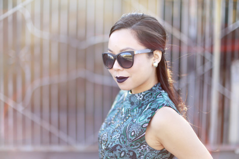 An Dyer wearing Anastasia Potion Dark Purple Liquid Lipstick, Chilli Beans Black Sunglasses