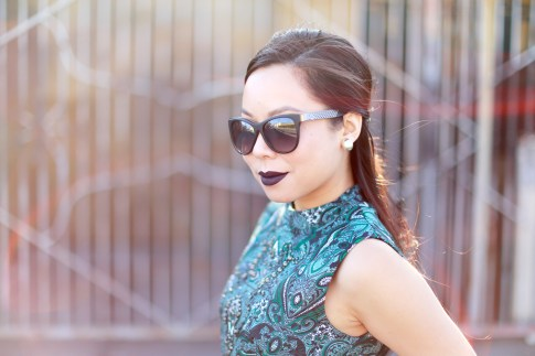 An Dyer wearing Anastasia Potion Dark Purple Liquid Lipstick, Chilli Beans Black Sunglasses