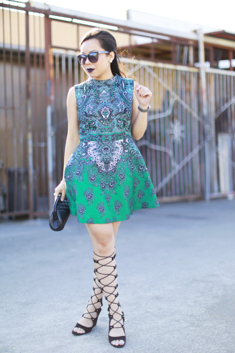 An Dyer wearing Black Liquid Lipstick, ChicWish Dress, ShoeDazzle Gladiator Wedge