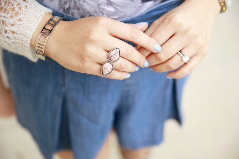 An Dyer wearing Cocoa Jewelry Blush Rings