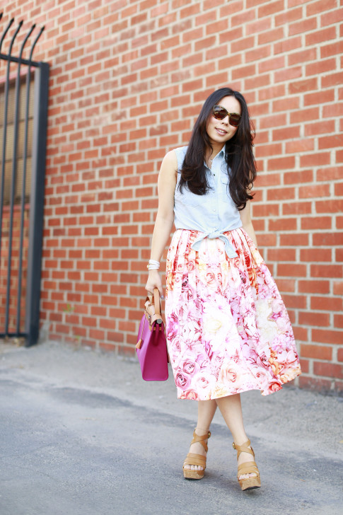 An Dyer wearing Forever 21 Sleeveless Denim Tie Knot Top with ChicWish Pink Ombre Floral Midi Skirt Ugg Dillion