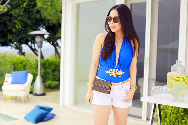 An Dyer blogger wearing Louis Vuitton Fanny PackForever Unique Cobalt Blue Bikini, Louis Vuitton Pouchette Florentine, True Religion Shorts