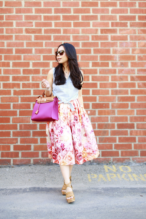 An Dyer wearing Hermes Herbag Pink Rose Hortensia Forever 21 Sleeveless Denim Tie Knot Top with ChicWish Pink Ombre Floral Midi Skirt Ugg Dillion
