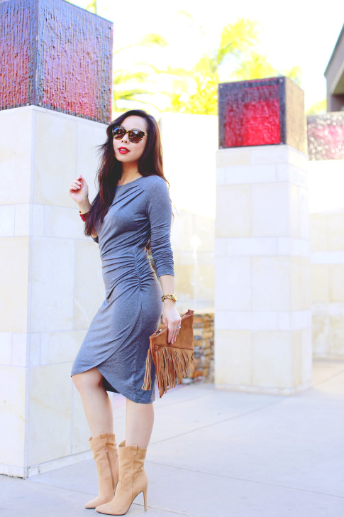 An Dyer wearing JustFab Grey Ruched Dress, Fringe Clutch, Cowboy boots, Vint & York Tortoise Shell Sunglasse