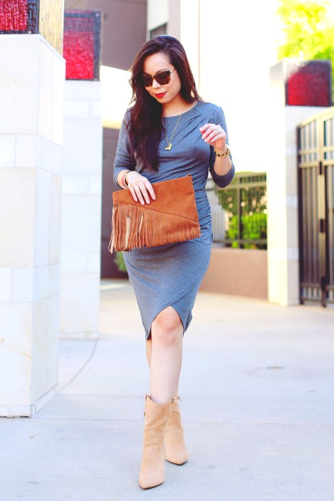 An Dyer wearing JustFab Grey Ruched Dress, Fringe Clutch, Cowboy boots, Vint & York Tortoise Shell Sunglasses