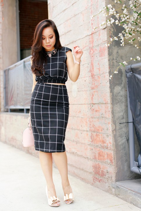 An Dyer wearing Line & Dot Bisious Crop Top Midi Skirt, Nude Bow Pumps