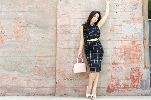 An Dyer wearing Louis Vuitton Alma BB, Line & Dot Bisous Crop Top Midi Skirt, ASOS Nude Bow Pumps, Cocoa Jewelry Blush Stone Necklace