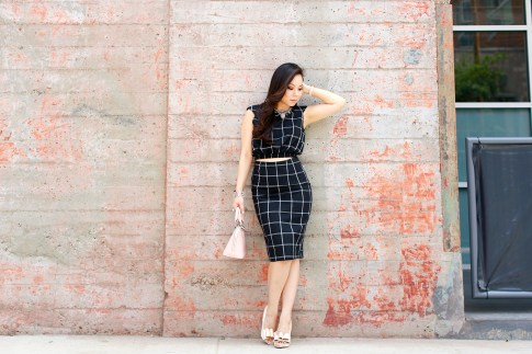 An Dyer wearing Louis Vuitton Alma BB, Line & Dot Bisous Crop Top Midi Skirt, ASOS Nude Bow Pumps