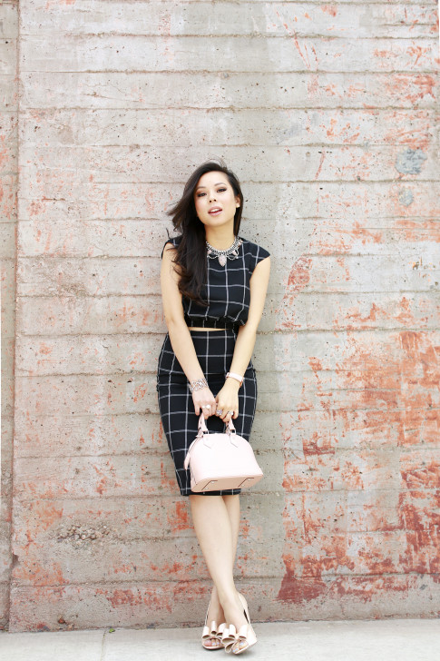 An Dyer wearing Louis Vuitton Alma BB Magnolia, Line & Dot Windowpane Crop Top Midi Skirt, ASOS Nude Bow Pumps