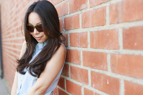 An Dyer wearing Vint and York Bees Knees Tortoise Sunglasses