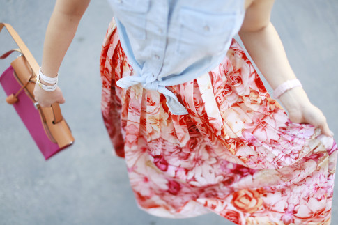An Dyer wearing twirling in pink orange floral ombre midi skirt hermes herbag
