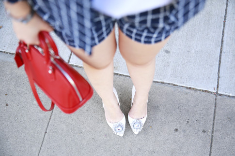 ShoeDazzle White Crystal Toe Pumps