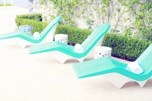 Teal Pool Chairs Chaise