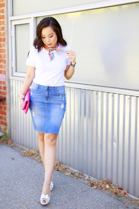 An Dyer wearing Hermes Twilly Neck Tie, Cotton On Tee, Denim Pencil Skirt, Palter Delisio Bow Pumps