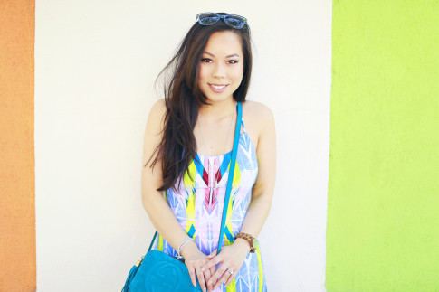 An Dyer wearing Tart Collections Harper Dress in Arrows with Gucci Soho Disco
