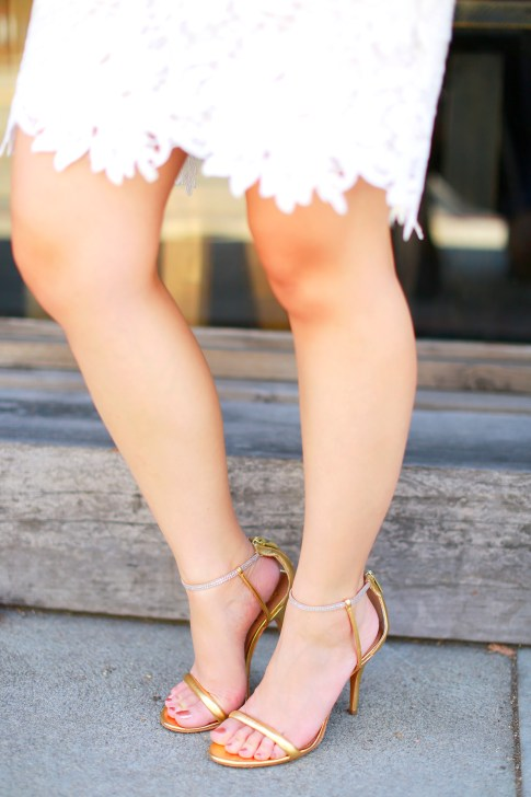 An Dyer wearing Vince Camuto Gold Sandals