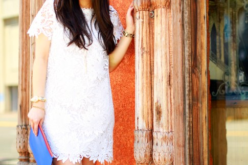 An Dyer wearing White Crochet Dress