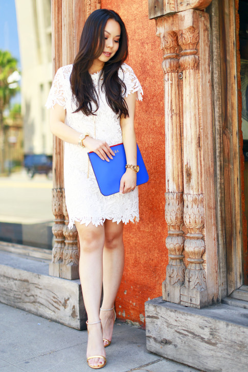 An Dyer wearing White Floral Lace Dress