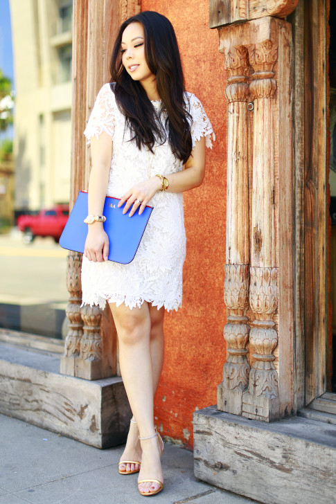 An Dyer wearing White Floral Lace Shift Dress