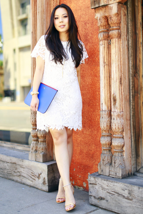 An Dyer wearing White Lace Shift Dress