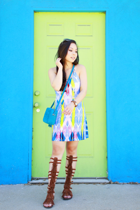 Blogger wearing Tart Collections Harper Dress with Steve Madden VILLANO Fringe Gladiator Sandals