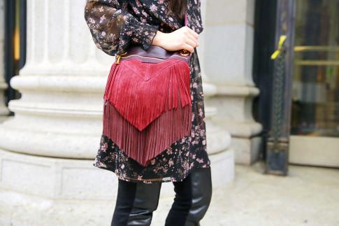 An Dyer NYFW SS16 Street Style Hammitt Burgundy Fringe Bag