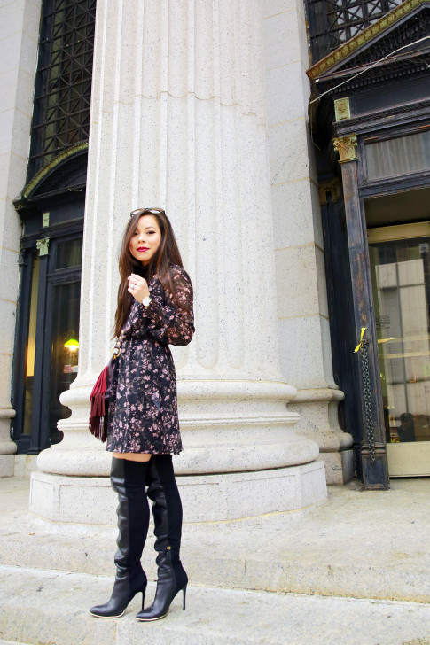 An Dyer NYFW SS16 Street Style Over The Knee Boots Floral Dress