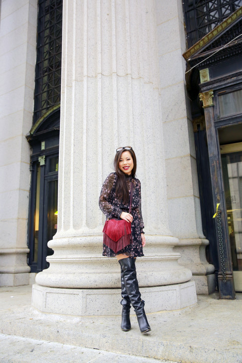 An Dyer NYFW SS16 Street Style Thigh High Boots High Neck Floral Dress