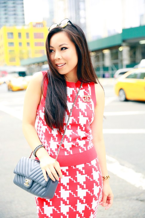 An Dyer NYFW Street Style Chanel Brooch Chevron Flap, Vassallo Houndstooth