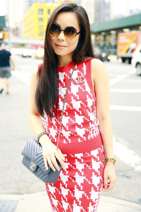 An Dyer NYFW StreetStyle Chanel Brooch Chevron Flap, Vassallo Houndstooth Komono Octogon Sunglasses
