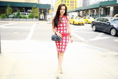 An Dyer New York Fashion Week SS16 StreetStyle Chanel Brooch Chevron Flap, Vassallo Houndstooth Komono Octogon Sunglasses