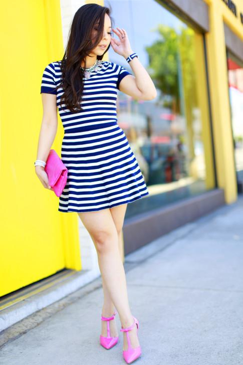 An Dyer wearing Lucy Paris Navy Stripe