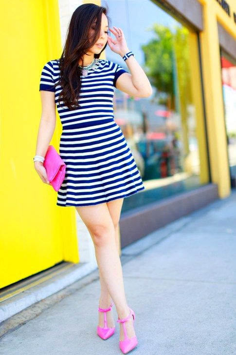 An Dyer wearing Lucy Paris Navy Stripe