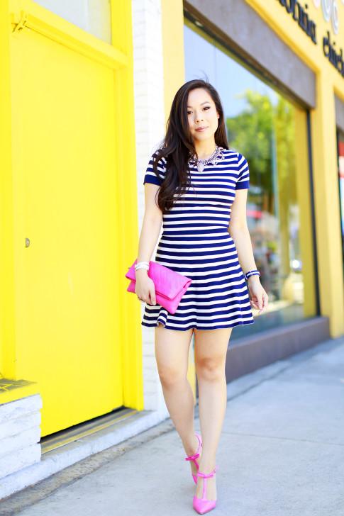 An Dyer wearing Lucy Paris Navy Striped Skirt Set