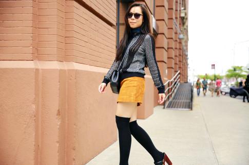 An Dyer NYFW Street Style SS16 Chelsea Suede Mini Skirt OTK socks