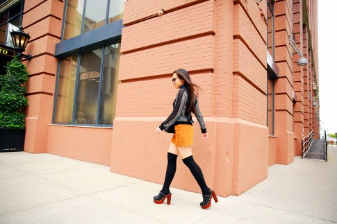 An Dyer NYFW Street Style SS16 Chelsea Suede Mini Skirt