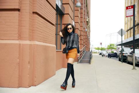 An Dyer NYFW Street Style SS16 Chelsea Suede Skirt Clogs OTK Socks