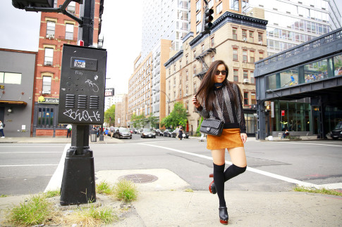 An Dyer NYFW Street Style SS16 Chelsea Suede Skirt Clogs Over The Knee Socks