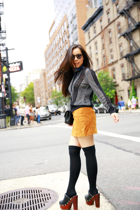An Dyer NYFW Street Style SS16 Chelsea The Highline Clogs Over The Knee Socks