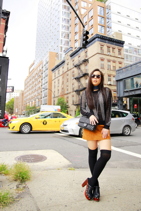An Dyer NYFW Street Style SS16 Chelsea The Highline Suede Skirt Clogs Over The Knee Socks